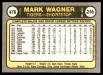 1981 Fleer #478  Mark Wagner  Back Thumbnail