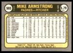1981 Fleer #503  Mike Armstrong  Back Thumbnail