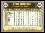 1981 Fleer #451  Larry Herndon  Back Thumbnail