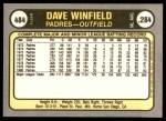 1981 Fleer #484  Dave Winfield  Back Thumbnail