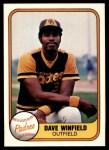 1981 Fleer #484  Dave Winfield  Front Thumbnail