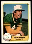 1981 Fleer #581  Billy Martin  Front Thumbnail