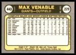 1981 Fleer #443  Max Venable  Back Thumbnail