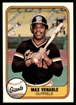 1981 Fleer #443  Max Venable  Front Thumbnail