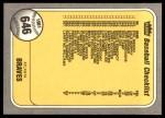 1981 Fleer #646   Braves / Red Sox Checklist Back Thumbnail