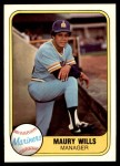 1981 Fleer #595  Maury Wills  Front Thumbnail