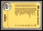 1981 Fleer #658   Rangers / Mariners Checklist Back Thumbnail