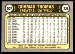 1981 Fleer #507  Gorman Thomas  Back Thumbnail