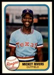 1981 Fleer #617  Mickey Rivers  Front Thumbnail