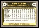 1981 Fleer #612  Kim Allen  Back Thumbnail