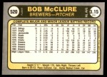 1981 Fleer #520  Bob McClure  Back Thumbnail
