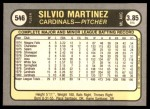 1981 Fleer #546  Silvio Martinez  Back Thumbnail