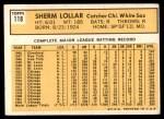 1963 Topps #118  Sherm Lollar  Back Thumbnail