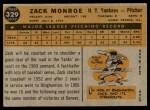 1960 Topps #329  Zack Monroe  Back Thumbnail