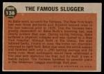 1962 Topps #138 NRM  -  Babe Ruth The Famous Slugger Back Thumbnail