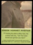 1966 Donruss Green Hornet #10   Miss Case at gunpoint Back Thumbnail