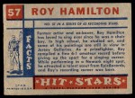 1957 Topps Hit Stars #57  Roy Hamilton  Back Thumbnail