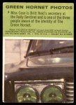 1966 Donruss Green Hornet #3   Miss Case Back Thumbnail