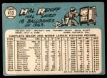 1965 Topps #413  Hal Reniff  Back Thumbnail