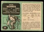 1970 O-Pee-Chee #165  Jack Norris  Back Thumbnail