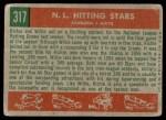 1959 Topps #317   -  Willie Mays / Richie Ashburn NL Hitting Kings Back Thumbnail