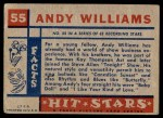 1957 Topps Hit Stars #55  Andy Williams   Back Thumbnail