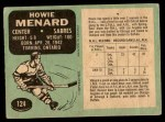 1970 O-Pee-Chee #124  Howie Menard  Back Thumbnail