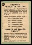 1970 O-Pee-Chee #255   Prince of Wales Trophy Back Thumbnail