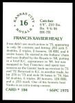 1976 SSPC #184  Fran Healy  Back Thumbnail