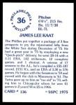 1976 SSPC #136  Jim Kaat  Back Thumbnail