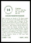 1976 SSPC #101  Dave Rader  Back Thumbnail