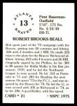 1976 SSPC #21  Bob Beall  Back Thumbnail