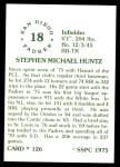 1976 SSPC #126  Steve Huntz  Back Thumbnail