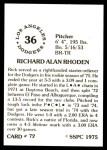 1976 SSPC #72  Rick Rhoden  Back Thumbnail