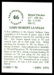 1976 SSPC #96  Gary Lavelle  Back Thumbnail