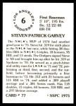 1976 SSPC #77  Steve Garvey  Back Thumbnail
