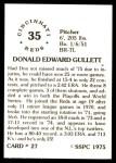 1976 SSPC #27  Don Gullett  Back Thumbnail