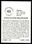 1976 SSPC #23  Jack Billingham  Back Thumbnail