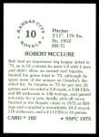 1976 SSPC #182  Bob McClure  Back Thumbnail