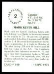 1976 SSPC #100  Marc Hill  Back Thumbnail