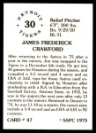 1976 SSPC #47  Jim Crawford  Back Thumbnail