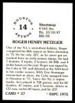 1976 SSPC #57  Roger Metzger  Back Thumbnail
