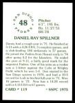 1976 SSPC #119  Dan Spillner  Back Thumbnail