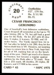 1976 SSPC #45  Cesar Geronimo  Back Thumbnail