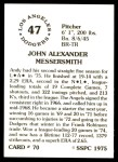 1976 SSPC #70  Andy Messersmith  Back Thumbnail