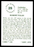 1976 SSPC #132  Bobby Tolan  Back Thumbnail