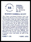 1976 SSPC #172  Rodney Scott  Back Thumbnail