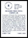 1976 SSPC #154  Pete Varney  Back Thumbnail