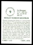 1976 SSPC #113  Wes Westrum  Back Thumbnail