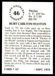 1976 SSPC #67  Burt Hooton  Back Thumbnail